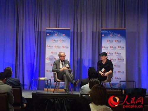 著名导演陆川对话好莱坞媒体人。廖政军摄