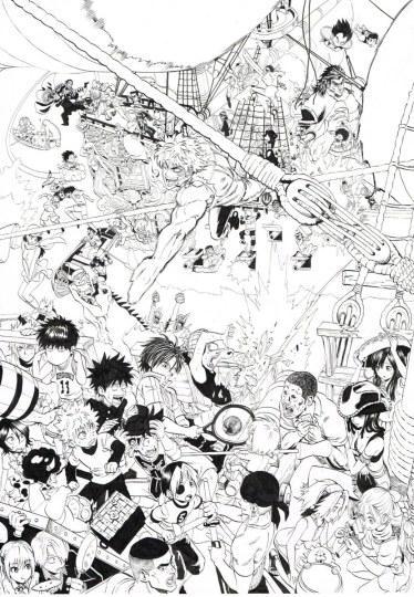 JUMP名人大集合!村田雄介公开JUMP2000号纪念海报原稿